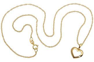 Singapurkette 1mm mit Herz - 375 Gold Länge: 45cm  - 1.49420147.70