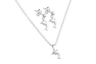 Happy Dolphins - Schmuckset Kette mit Anhänger und Ohrstecker
