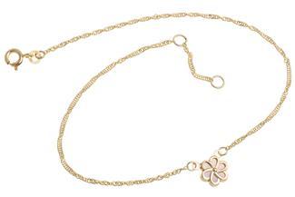 Fußkette Singapur 1,4mm Blume Perlmutt - 333 Gold