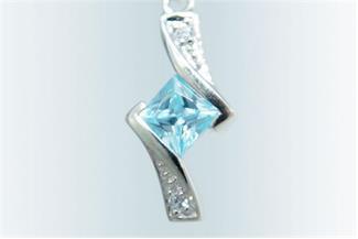 Anhänger Zirkonia blau - 925 Silber