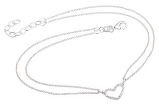 Fußkette Erbse 2reihig 1mm mit Herz - 925 Silber Länge: 23cm