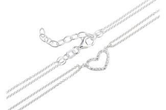 Fußkette Erbse 2reihig 1mm Herz - 925 Silber Länge: 23cm