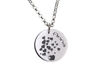 Kinder Kette mit Gravuranhänger Hearts - ChainMAGPIE 925 Silber