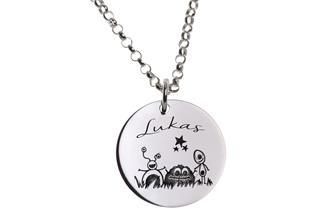 Kinder Kette mit Gravuranhänger Trillies - ChainMAGPIE 925 Silber