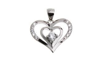 Anhänger Herz mit Zirkonia - 925 Silber DFS0435