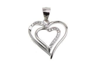 Anhänger Herz mit Zirkonia - 925 Silber DMH0677