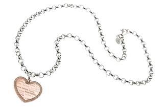 Erbskette 5,5mm mit Anhänger Herz rosé - 925 Silber