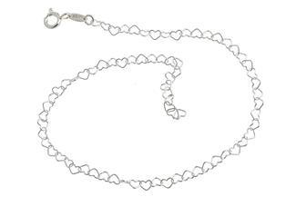 Fußkette Herzen klein - 925 Silber