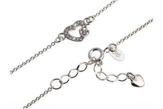 Fußkette Erbskette 1,3mm mit Herz - 925 Silber