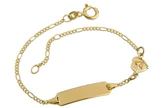 Kinder-Gravurarmband Figaro 1,5mm Engel II 333 Gold