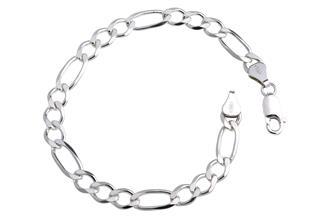 Figarokette Armband 6,5mm - 925 Silber