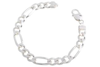 Figarokette Armband 9mm - 925 Silber