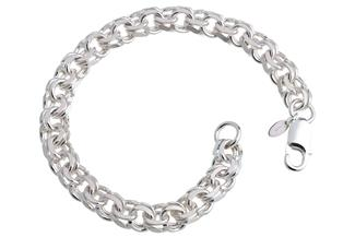 Garibaldikette Armband 8,5mm - 925 Silber