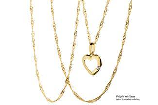 Anhänger Herz 1 Zirkonia - 375 Gelbgold