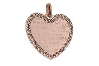 Anhänger Herz Love groß - rosé vergoldet