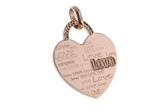 Gravuranhänger Herz groß - rosé vergoldet
