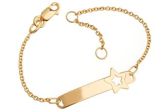 Kinder-ID-Armband Star - 375 Gold