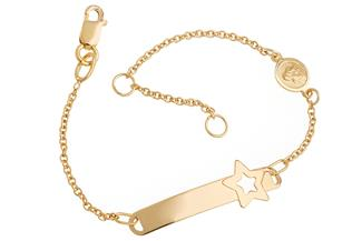 Kinder-ID-Armband Star Engel I - 375 Gold