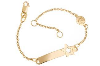 Kinder-ID-Armband Star Engel I - 375 Gelbgold