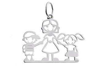 Anhänger Mädchen-Mutter-Junge - 925 Silber