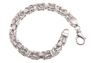 Königskette Armband 8x8mm, halbmassiv - 925 Silber