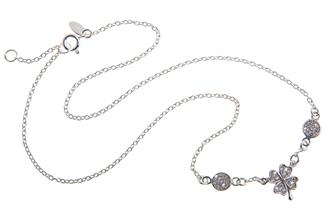 Kette mit Anhänger Kleeblatt / Kreise mit Zirkonia 925 Silber