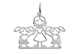 Anhänger Mädchen-Mutter-Mädchen - 925 Silber
