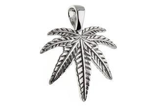 Anhänger Cannabis, Hanfblatt - 925 Silber