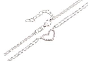 Schmuckset Armband und Fusskette Herz 2reihig - 925 Silber