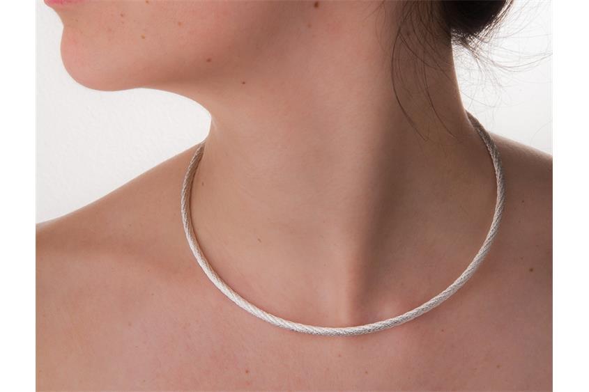 Fashion Omegahalsreifen 4mm - 925 Silber Länge: 40cm - 028ART4