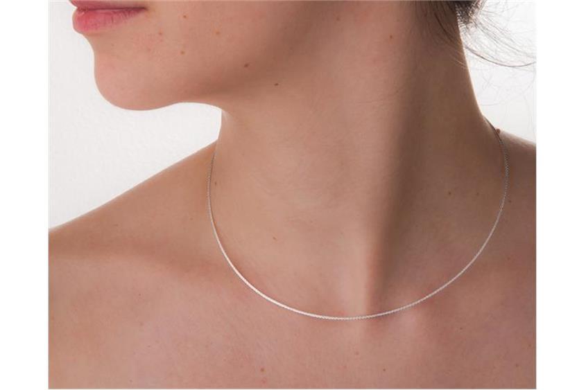 Fashion Omegahalsreifen 1mm - 925 Silber Länge: 40cm - 028ART7
