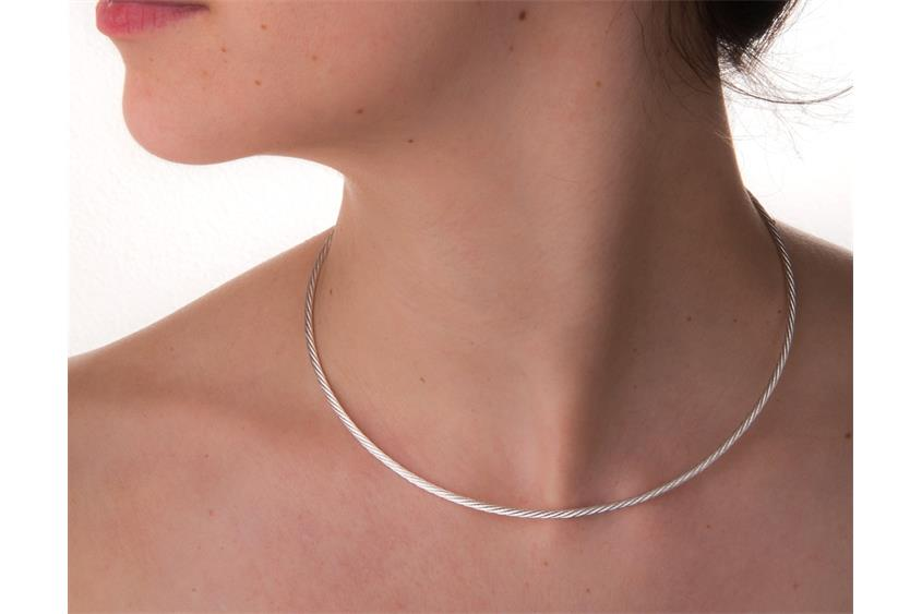 Faschion-Omegahalsreifen 2,2mm - 925 Silber Länge: 40cm - 028NK0257x7