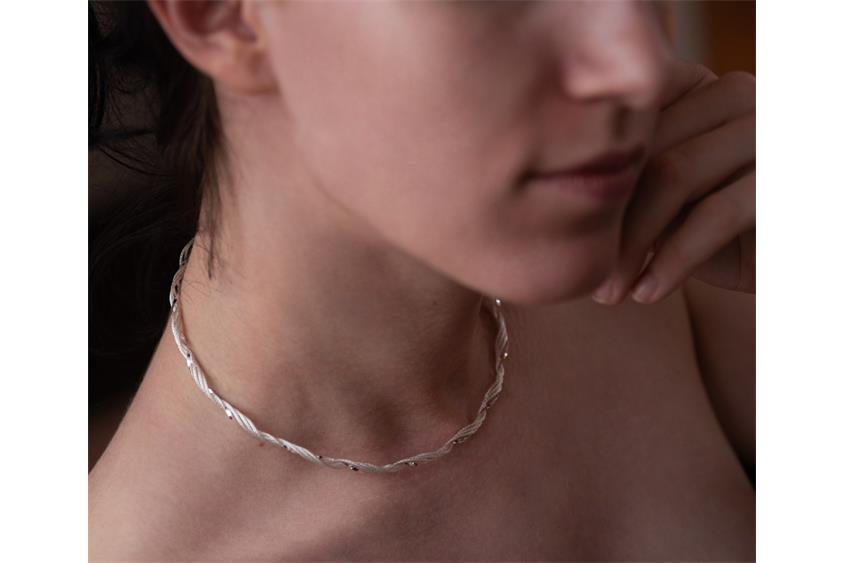 Faschion-Omegahalsreifen circa 4mm - 925 Silber Länge: 40cm - 028ART1