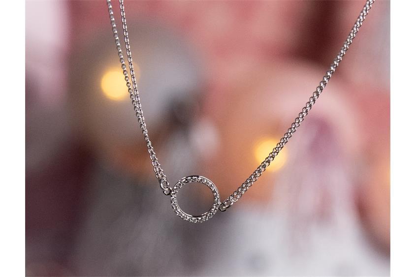 Fußkette Erbse 2reihig 1mm mit rundem Ornament - 925 Silber Länge: 23cm