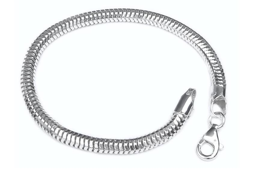 Schlangenkette Armband, achtkant 5mm - 925 Silber