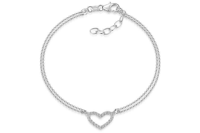 Armband Erbse 2reihig mit Herz, Länge variabel 17-21cm Länge: 17cm-21cm variabel