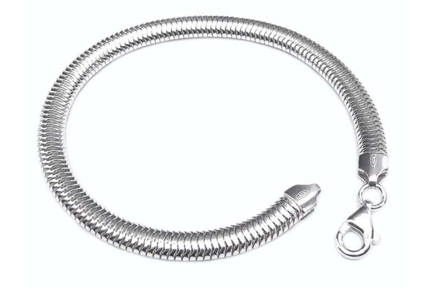 Schlangenkette Armband, oval 6mm - 925 Silber