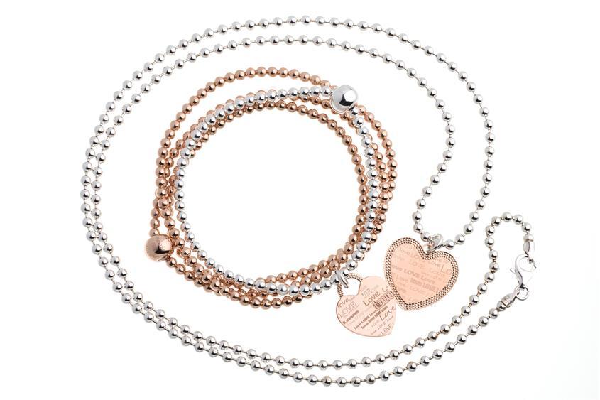 Schmuckset  925  silber Kugelkette m. Anhänger & ElasticElements Armbänder