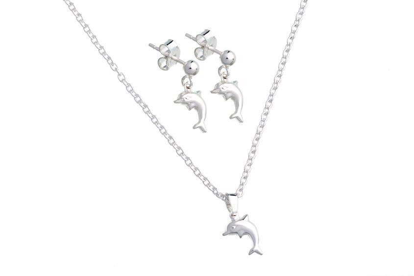 Schmuckset Happy Dolphins 925  silber Schmuckset Kette mit Anhänger und Ohrstecker