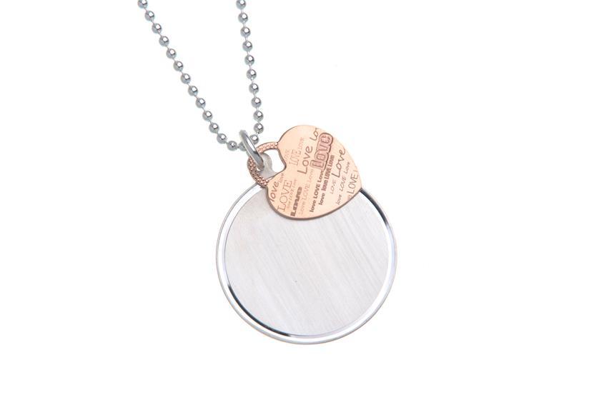 Schmuckset 925 Silber Kugelkette mit Gravuranhänger