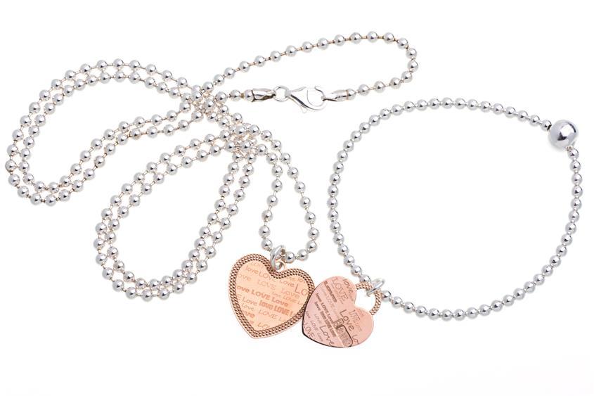 Schmuckset Kugelkette mit Armband , 925  silber Kugelkette und Armband mit Anhänger
