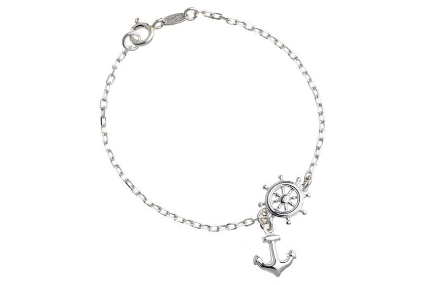 Ankerkette Armband Seemannsgarn 1,7mm mit Anhänger - 925 Silber 925 Silber