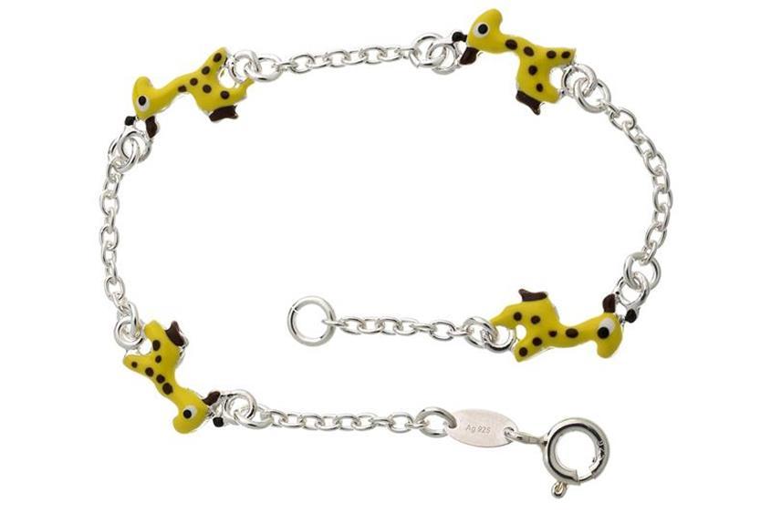 Kinder-Armband mit 4 Giraffen - 925 Silber