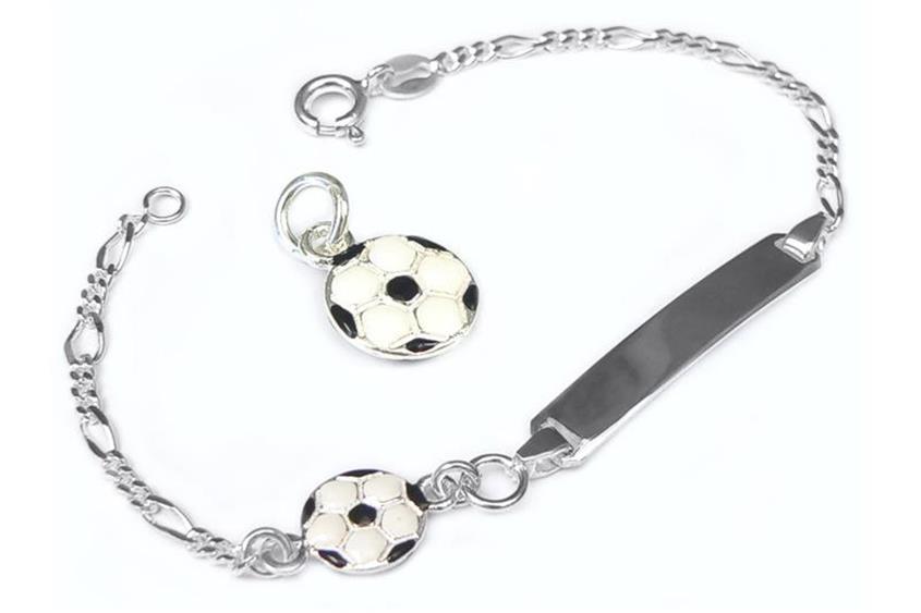 Kinder-Gravurarmband Singapur Fußball - 925 Silber