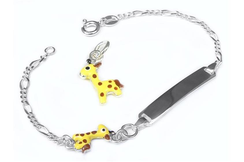 Kinder-Gravurarmband Giraffe - 925 Silber