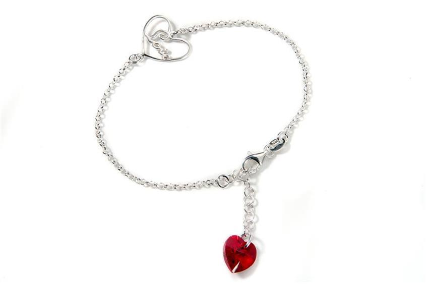 Armband mit Anhänger Herz - 925 Silber - BK5243 Länge: 17,5-20cm