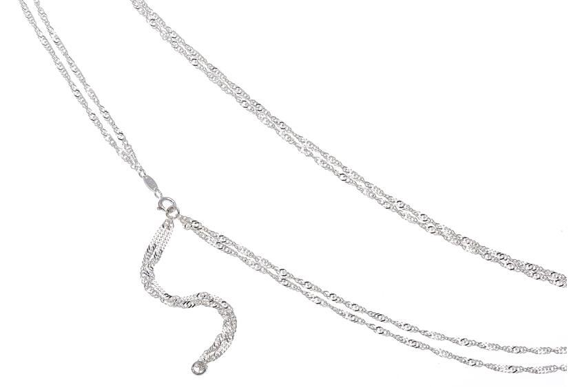 Bauchkette Singapur 2,3mm 2reihig - 925 Silber