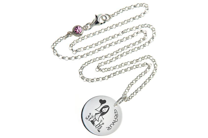 Kinder Kette mit Gravuranhänger Girl ChainMAGPIE - 925 Silber 925 Silber