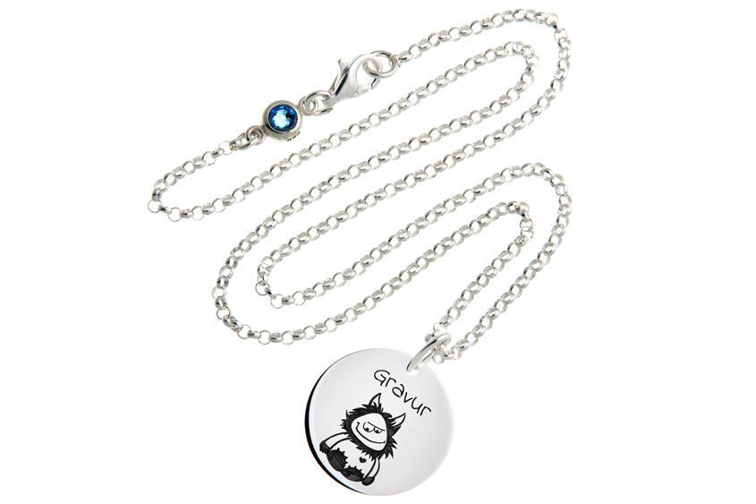 Kinder Kette mit Gravuranhänger Wuschel ChainMAGPIE - 925 Silber ChainMAGPIE 925 Silber