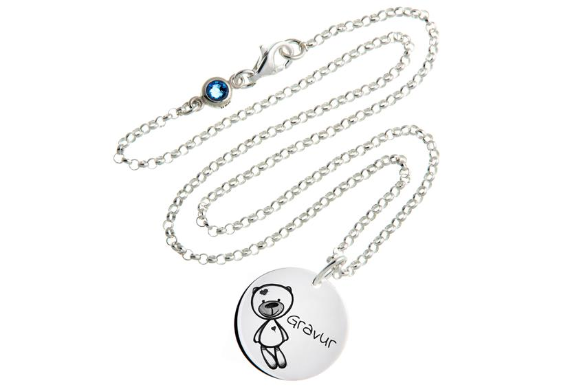 Kinder Kette mit Gravuranhänger Ted ChainMAGPIE - 925 Silber 925 Silber